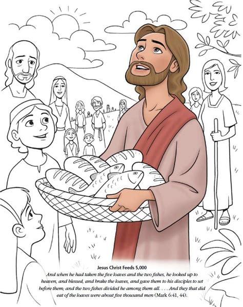 Bijbelverhaal 5 Broden En 2 Vissen Godsdienst Jesus Feeds 5000 Coloring Page