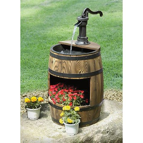 whiskey barrel fountain with planter 214687 decorative