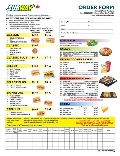 menu order form template 4 best images of subway menu order form printable