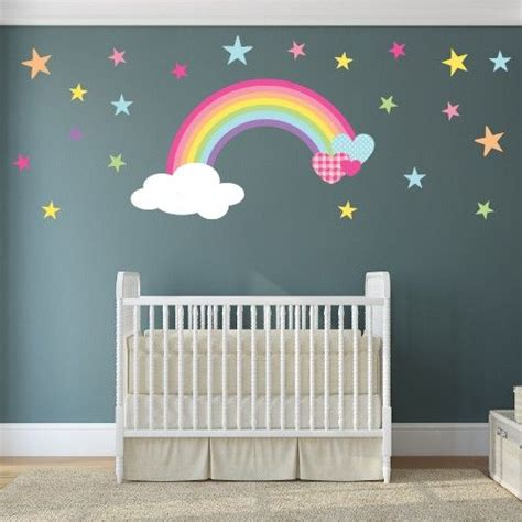 wall stickers nursery uk magical rainbow nursery wall stickers starting from 163 14 95 made from self adhesive fabric simply