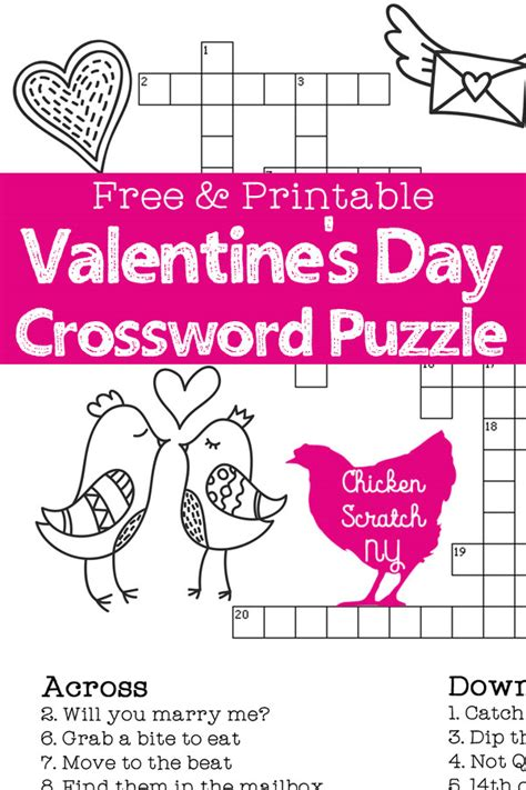 valentines puzzle printable s day crossword puzzle