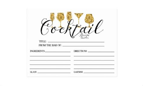 cocktail recipe card template free 15 recipe card designs design trends premium psd