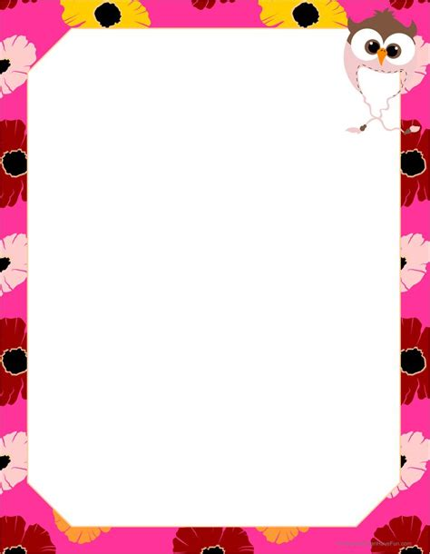 lined paper with spring border spring cute owl paper http www kidscanhavefun com