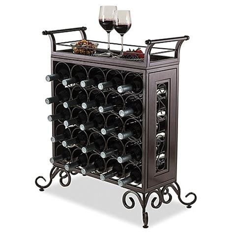 wine rack bed bath and beyond winsome trading silvano 25 bottle wine rack in bronze
