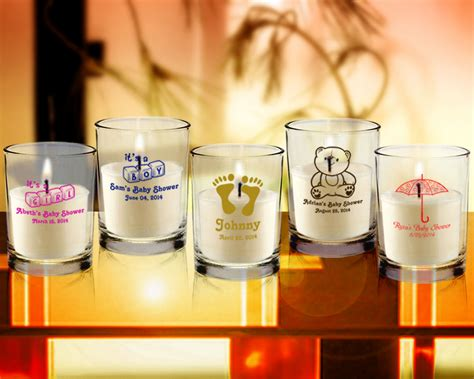 Candle Giveaways - baby shower personalized clear candle favors