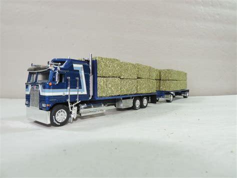 kenworth truck and trailer dcp custom blue w stripes kenworth k100 hay truck w hay