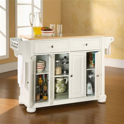 alexandria kitchen island crosley furniture alexandria natural wood top kitchen cart
