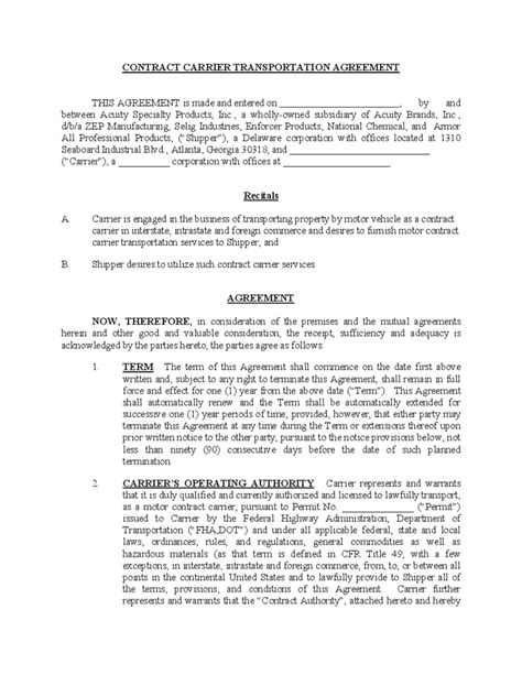 Carrier Agreement Templates Contract Carrier Transportation Agreement Free Download