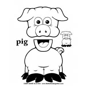 pig puppet template farm animal paper bag puppets