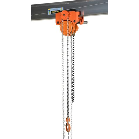 vestil 4 000 lb capacity low headroom chain hoist trolley