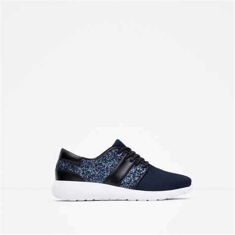 glitter sneakers zara glitter sneakers in blue navy blue lyst