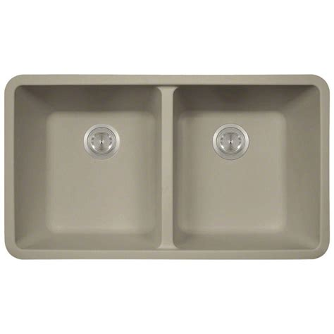 Slate Kitchen Sink Polaris Sinks Undermount Granite Composite 32 5 In 0 Bowl Kitchen Sink In Slate