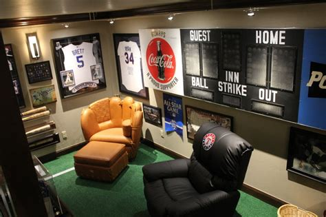 cave with scoreboard and baseball furniture eclectic