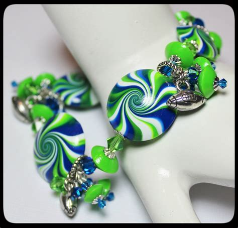 Seattle Handmade - seattle seahawks handmade jewelry bracelet beaded cha cha