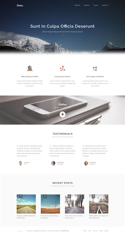 Sublime Free Stunning Html5 Css3 Website Template Website Templates Html5