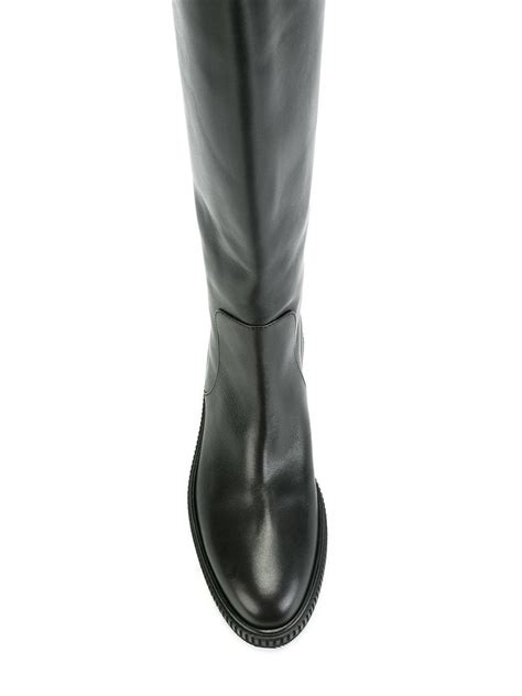sergio knee length flat boots in black lyst