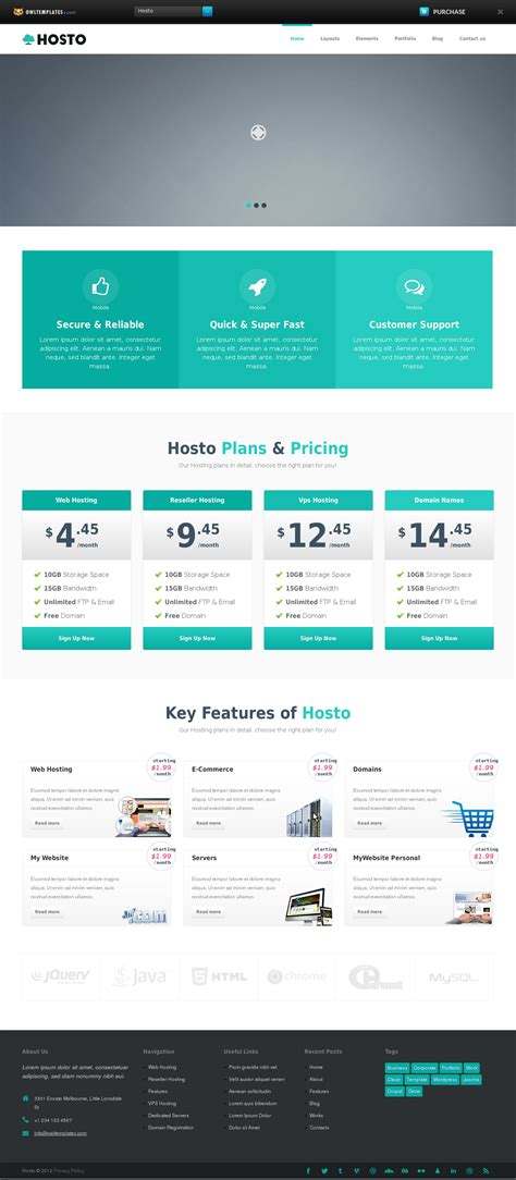 bootstrap responsive template awesome java html website templates