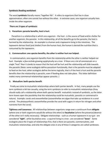 Symbiosis Worksheet by Types Of Symbiosis Worksheet Photos Toribeedesign