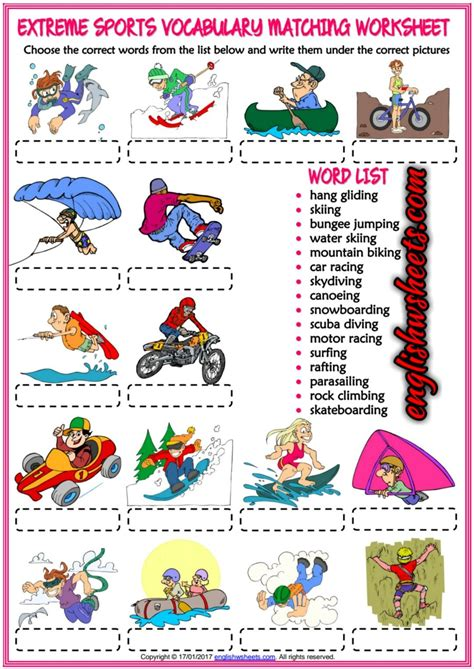 Sports Vocabulary Worksheet by Sports Esl Printable Matching Exercise Worksheet