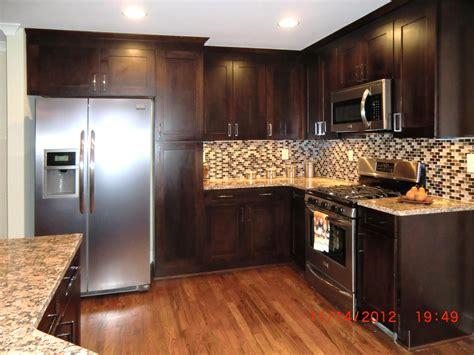 kitchen color schemes dark cabinets mosaic tile kitchen backsplash pictures laminate wood floor kitchen island granite countertops