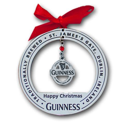 guinness label chrome christmas tree ornament