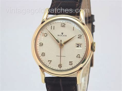 rolex precision date 9k 1959 vintage gold watches