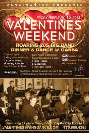 roaring 20s big band swing valentines dinner dance @ gabba