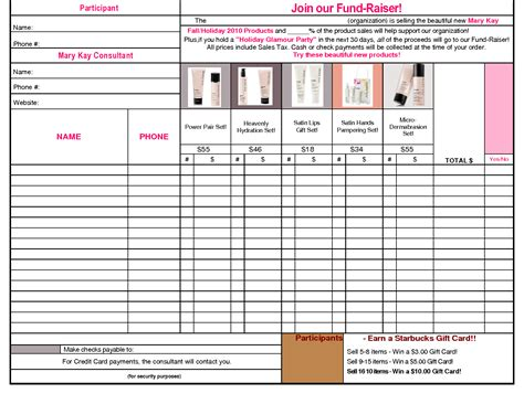 printable mary kay order forms mary kay fundraiser sheet pictures to pin on pinterest