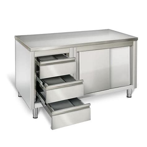 Kitchen Work Table With Drawers by Eq Commercial Stainless Steel Work Prep Table W Cabinet 3