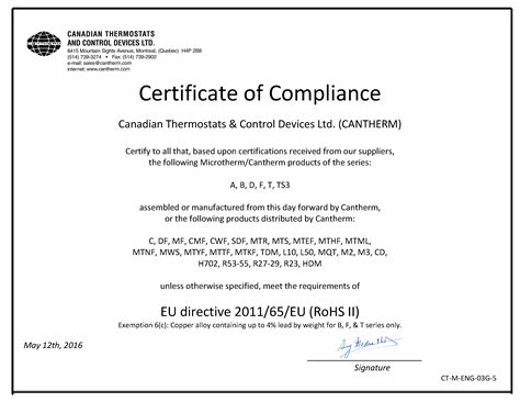 certification letter of compliance certificate of compliance image collections cv