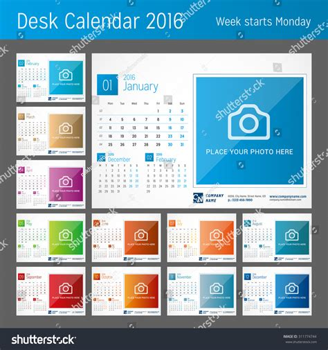 Info 12 Agustus 2016 Print Layout Error Desk Calendar For 2016 Year Set Of 12 Months Vector