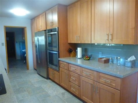 beech wood kitchen cabinets natural beech wood shaker galley refrigerator wall after