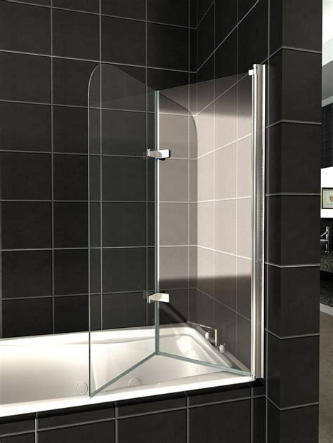 shower screen for bathtub details about 180 176 pivot glass over bath 2 fold folding