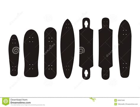 longboard decks types skateboard and longboard types pictogram stock vector