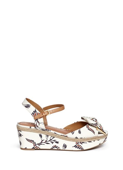 floral print sandals burch floral print canvas wedge sandals in