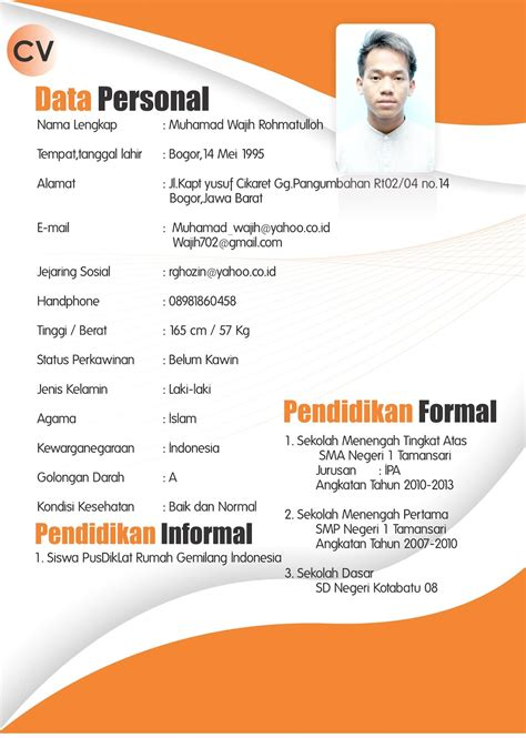 format cv indonesia contoh curriculum vitae bahasa indonesia ben jobs