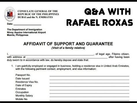Guarantee Letter Dubai dubai visit visa original affidavit of support guarantee
