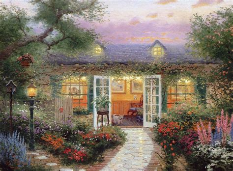 kinkade cottage painting kinkade summer cottage house verandah