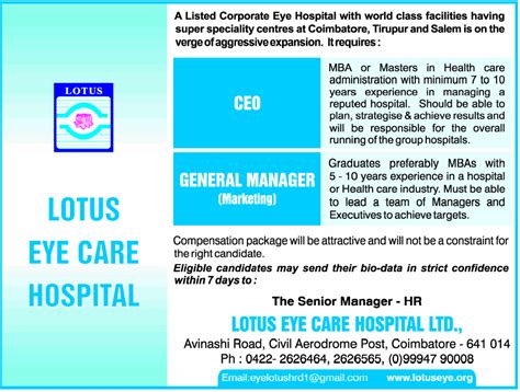Mba Healthcare Management Internship Description by Ceo Coimbatore Healthcare