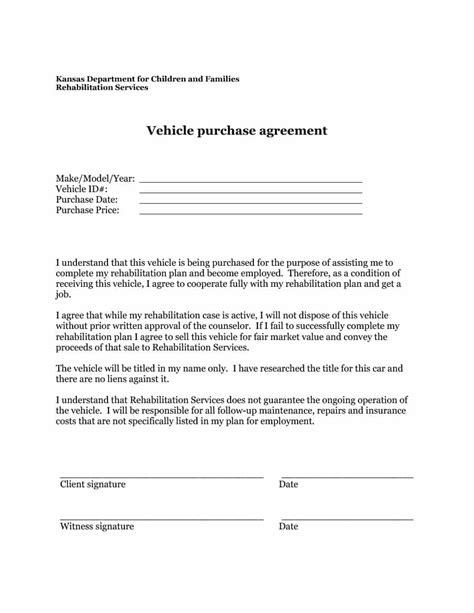 sale agreement vehicle bill of sale sell a vehicle