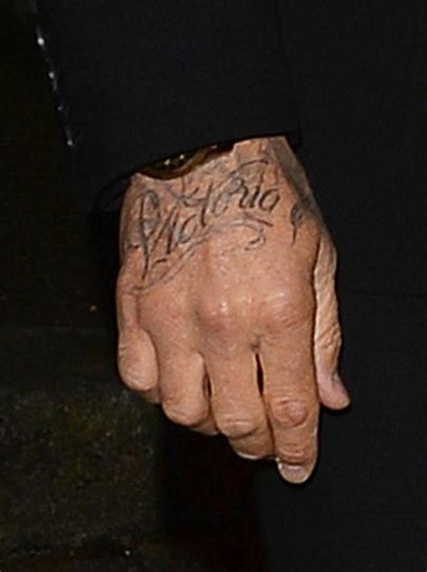 david beckham tattoo on his hand david beckham shows off victoria hand tattoo mtv uk