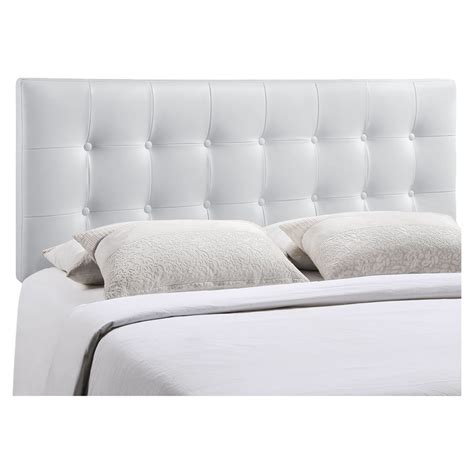 white button headboard emily leatherette headboard button tufted white dcg