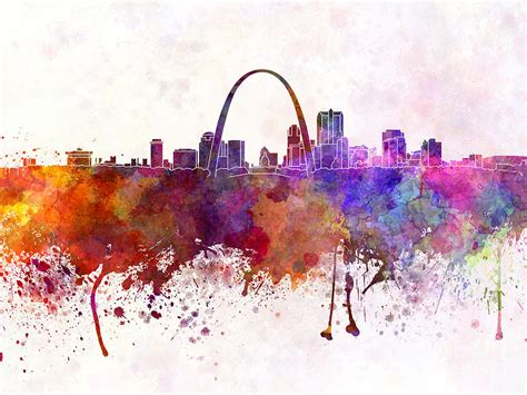 st louis skyline in watercolor background painting by