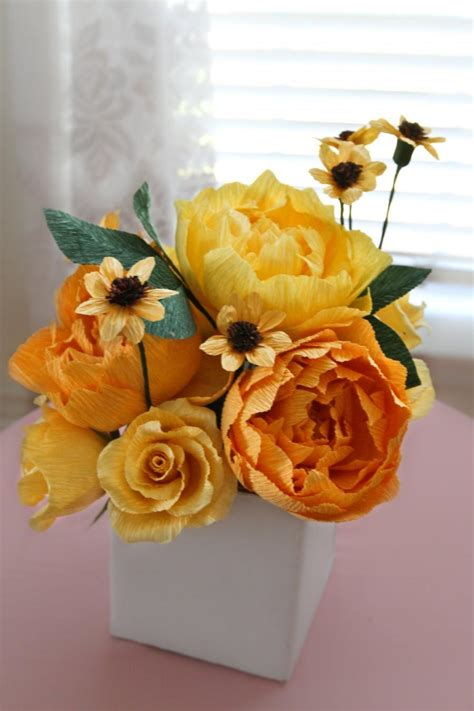 Wedding Flower Paper Centerpiece by 1 Yellow Shade Peonies Centerpiece Paper Flowers