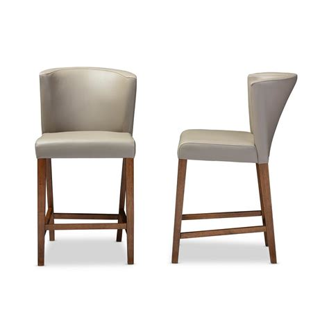 Grey Faux Leather Counter Stools by Baxton Studio Taupe Faux Leather Upholstered 2