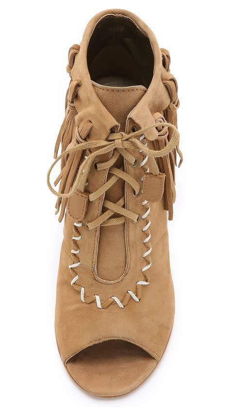 Shoe La La Cynthia Vincents Twiggy by Cynthia Vincent Nailed Fringe Open Toe Booties In