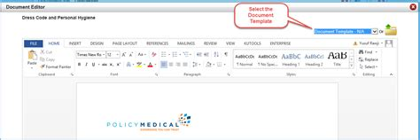 document templates policy medical