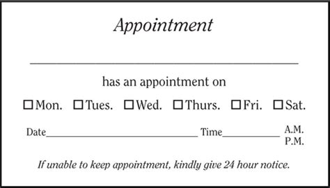 appointment cards templates vbc200 generic appointment card positive impressions