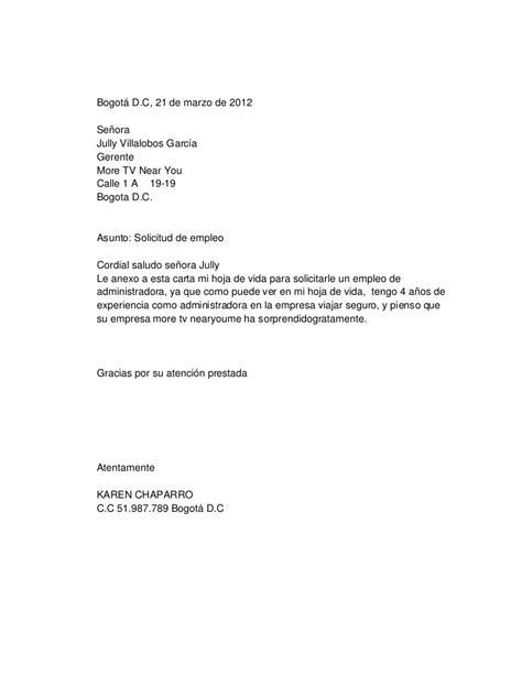 carta solicitud de empleo ingles solicitud de empleo 5