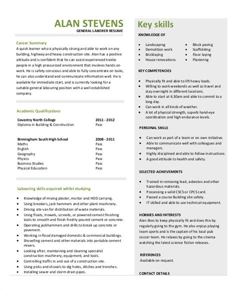 construction laborer resume exles and sles construction resume exle 9 free word pdf documents
